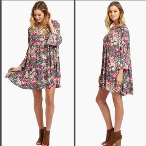 Umgee floral trapeze dress